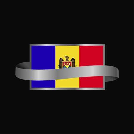 Moldova flag Ribbon banner design