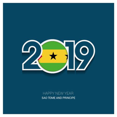 2019 Sao Tome and Principe Typography, Happy New Year Background