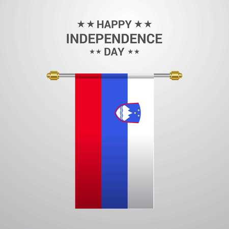 Slovenia Independence day hanging flag background