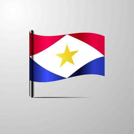 saba waving Shiny Flag design vector Illustration