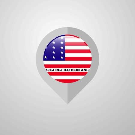 Map Navigation pointer with Bikini Atoll flag design vector Stock Illustratie