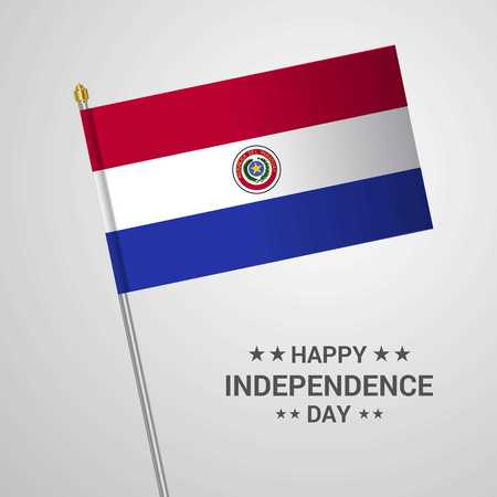 Paraguay Independence day typographic design with flag vector