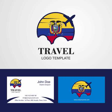 Travel Easter Island Rapa Nui Flag Logo and Visiting Card Design Standard-Bild - 111234531