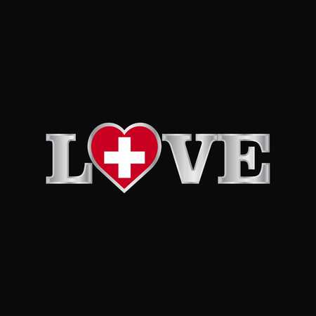 Love typography with Switzerland flag design vector Ilustração