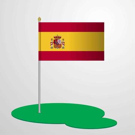 Spain Flag Pole Illustration