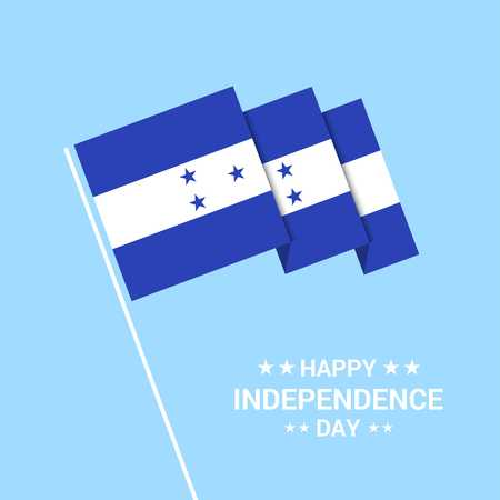 Honduras Independence day typographic design with flag vector