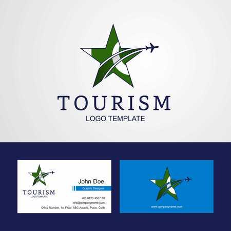 Travel Pakistan flag Creative Star Logo and Business card design Ilustração