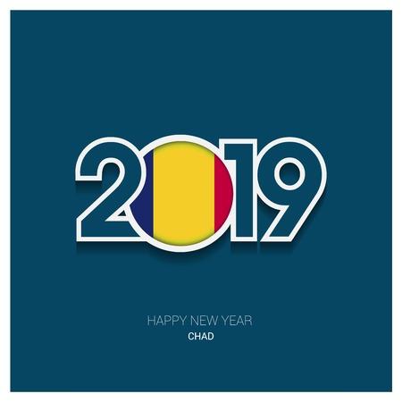 2019 Chad Typography, Happy New Year Background Иллюстрация