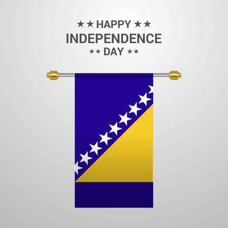 Bosnia and Herzegovina Independence day hanging flag background Illustration