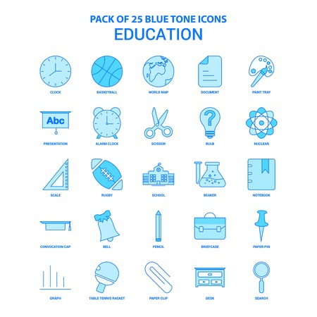 Education Blue Tone Icon Pack - 25 Icon Sets