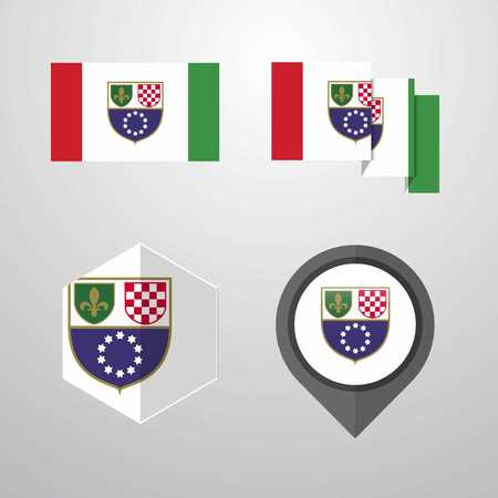 Bosnia and Herzegovina flag design set vector