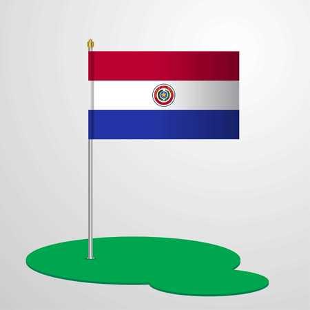 Paraguay Flag Pole Illustration