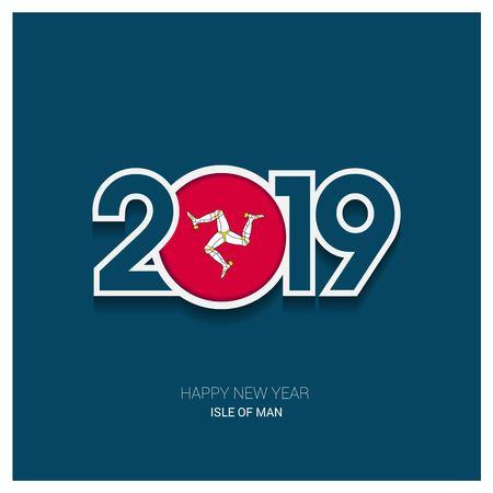 2019 Isle of Man Typography, Happy New Year Background Çizim