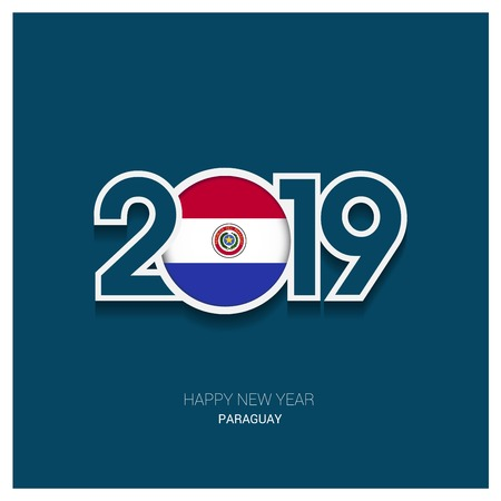 2019 Paraguay Typography, Happy New Year Background