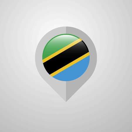 Map Navigation pointer with Tanzania flag design vector