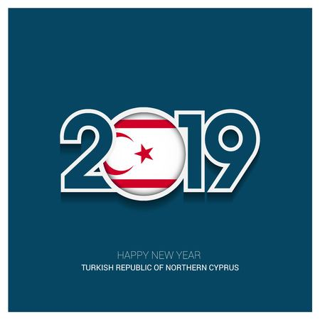 2019 Northern Cyprus Typography, Happy New Year Background Vettoriali