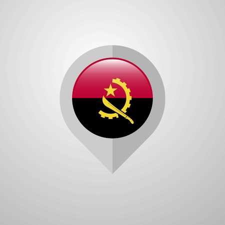 Map Navigation pointer with Angola flag design vector