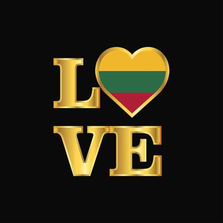 Love typography Lithuania flag design vector Gold lettering Illustration