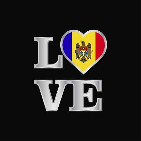 Love typography Moldova flag design vector beautiful lettering
