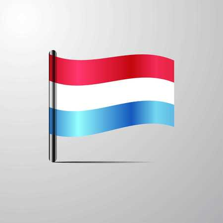 Luxembourg waving Shiny Flag design vector