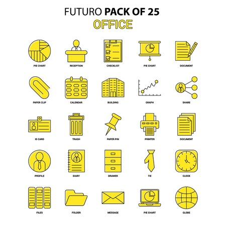 Office Icon Set. Yellow Futuro Latest Design icon Pack