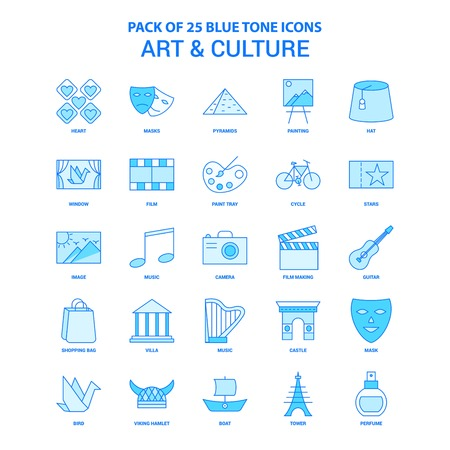 Art and Culture Blue Tone Icon Pack - 25 Icon Sets Vettoriali