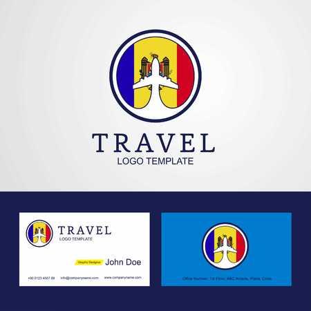 Travel Moldova Creative Circle flag Logo and Business card design