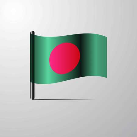 Bangladesh waving Shiny Flag design vector
