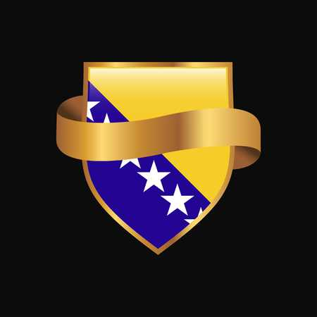 Bosnia and Herzegovina flag Golden badge design vector Illustration