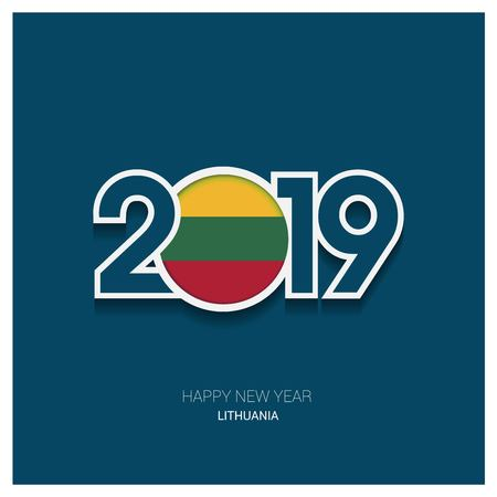 2019 Lithuania Typography, Happy New Year Background Illustration