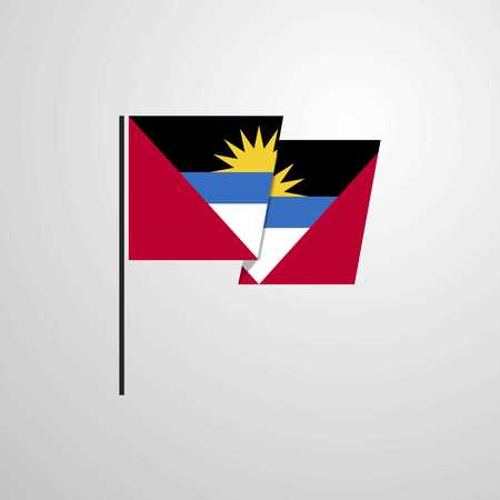 Antigua and Barbuda waving Flag design vector Illustration