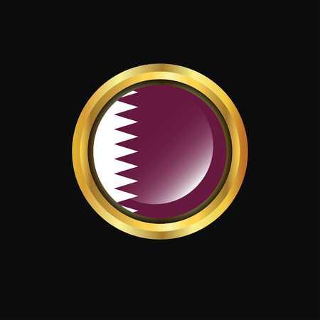 Qatar flag Golden button