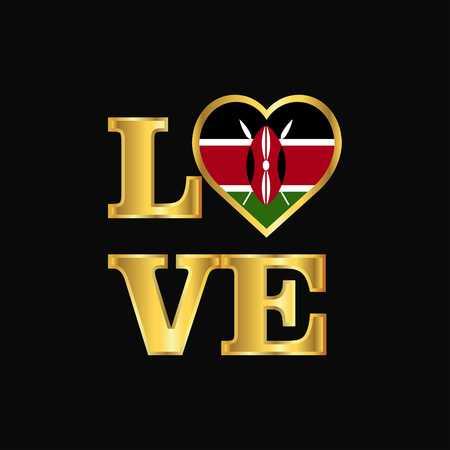 Love typography Kenya flag design vector Gold lettering 写真素材 - 111234729