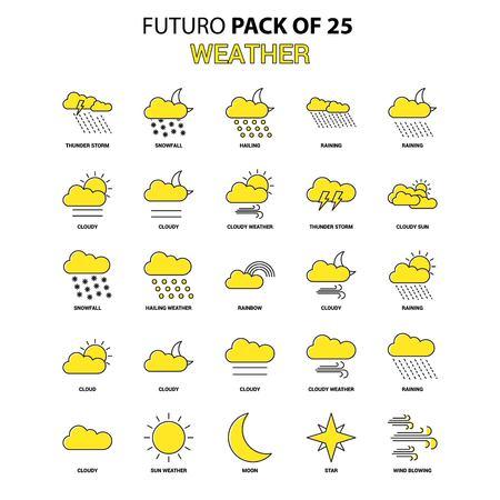 Weather Icon Set. Yellow Futuro Latest Design icon Pack