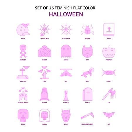 Set of 25 Feminish Halloween Flat Color Pink Icon set