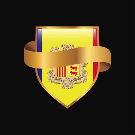 Andorra flag Golden badge design vector