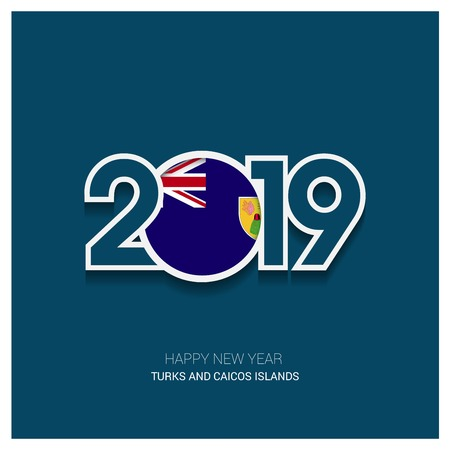 2019 Turks and Caicos Islands Typography, Happy New Year Background