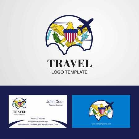 Travel Virgin Islands US Flag Logo and Visiting Card Design