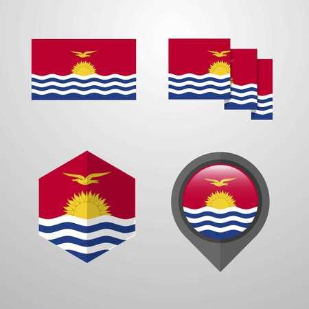 Kiribati flag design set vector