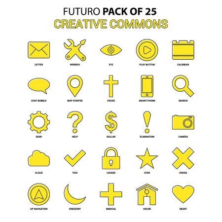Creative Commons Icon Set. Yellow Futuro Latest Design icon Pack