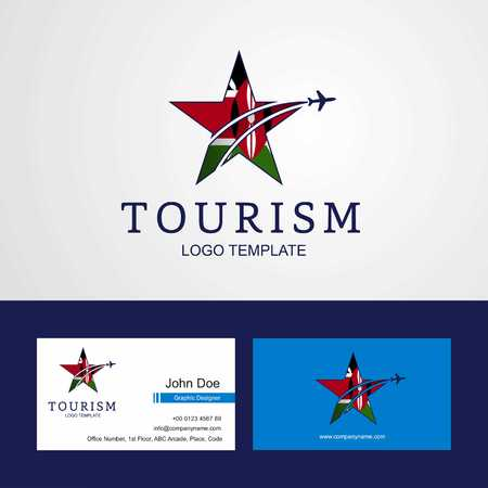 Travel Kenya flag Creative Star Logo and Business card design  イラスト・ベクター素材