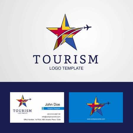 Travel Aland flag Creative Star Logo y diseño de tarjeta de visita