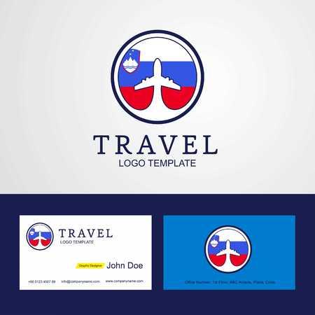Travel Slovenia Creative Circle flag Logo and Business card design 일러스트