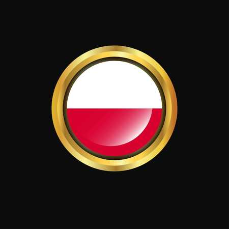 Poland flag Golden button Ilustrace