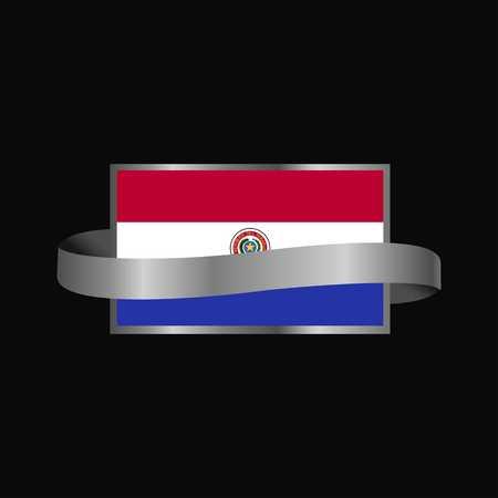 Paraguay flag Ribbon banner design Illustration