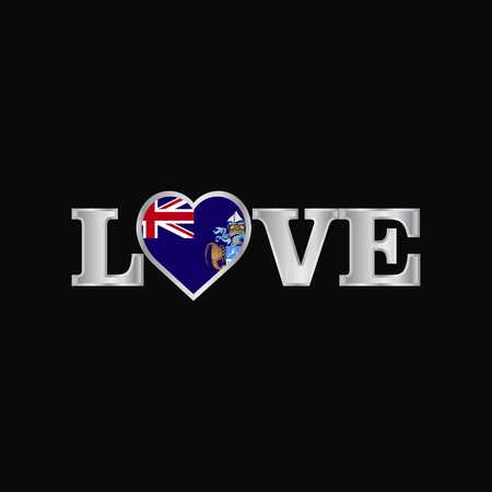 Love typography with Tristan da Cunha flag design vector
