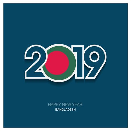 2019 Bangladesh Typography, Happy New Year Background
