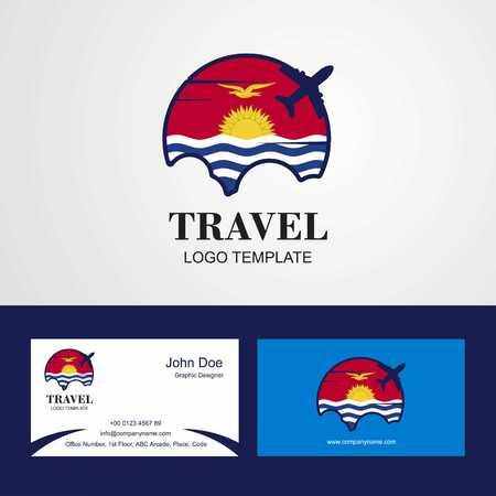 Travel Kiribati Flag Logo and Visiting Card Design
