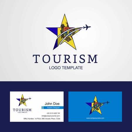 Travel Moldova flag Creative Star Logo and Business card design Logo