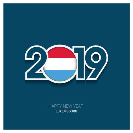 2019 Luxembourg Typography, Happy New Year Background